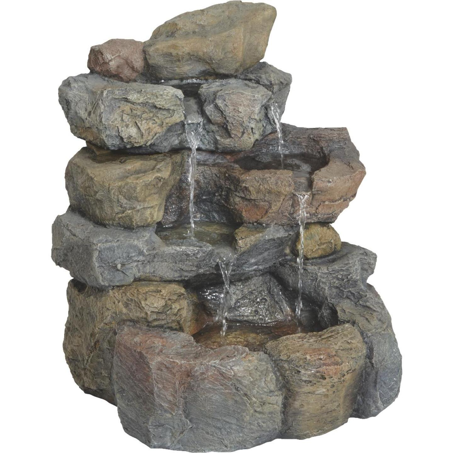 Best Garden 17 In. W. x 20 In. H. x 16 In. L. Resin Landscape Rock Fountain Image 1