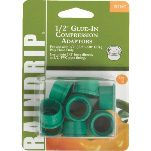 Raindrip 1/2 In. PVC x 1/2 In. Compression Glue-In Hose-To-Drip Adapter (10-Pack)