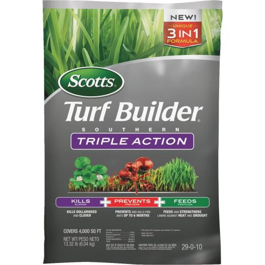 Scotts Turf Builder Southern Triple Action 13.32 Lb. 4000 Sq. Ft. Lawn Fertilizer with Weed Killer