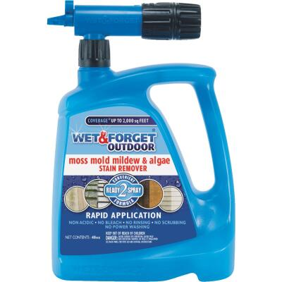 Wet & Forget 48 Oz. Hose End Spray Concentrate Moss, Mildew, Algae, & Mold Stain Remover