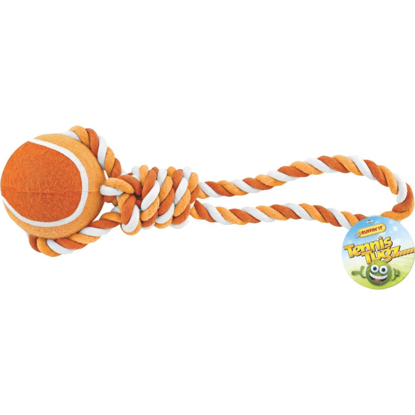 Westminster Pet Ruffin' it Giant Tennis Ball Rope Tug Dog Toy Image 2