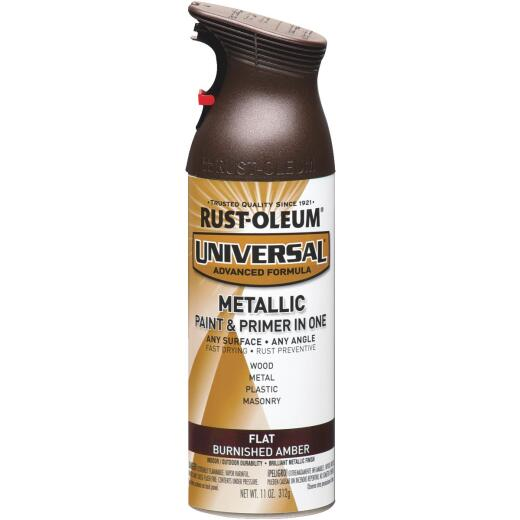 Rust-Oleum Universal 11 Oz. Metallic Flat All-Surface Spray Paint & Primer In One, Burnished Amber