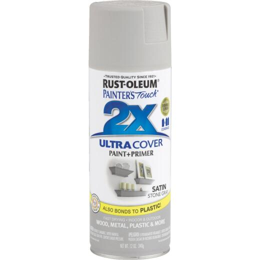 Rust-Oleum Painter's Touch 2X Ultra Cover 12 Oz. Satin Paint + Primer Spray Paint, Stone Gray