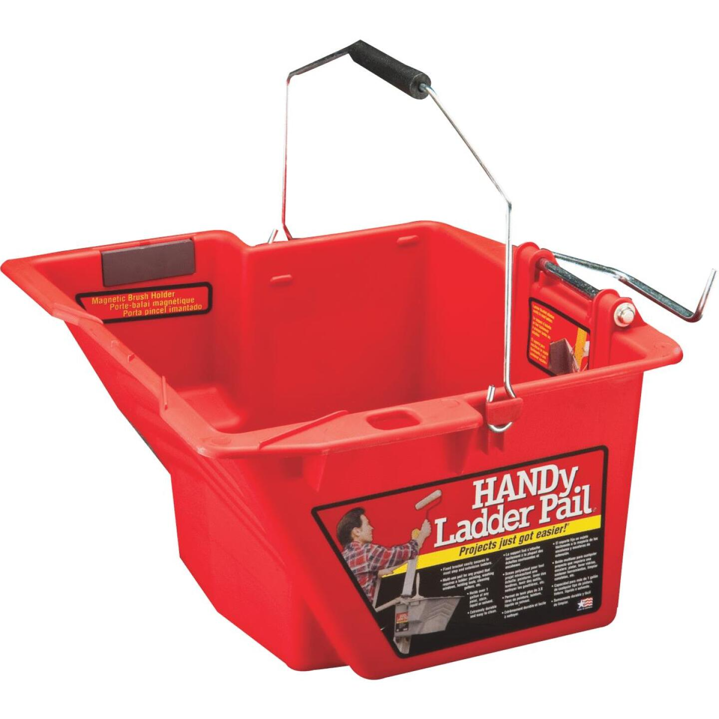 HANDy Ladder Pail 1.5 Gal. Gray Painter's Bucket with Fixed Ladder Bracket And Magnetic Brush Holder Image 1