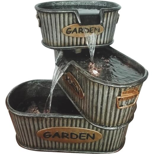 Alpine 16 In. W. x 20 In. H. x 19 In. L. Polyresin 3-Tier Garden Tin Fountain