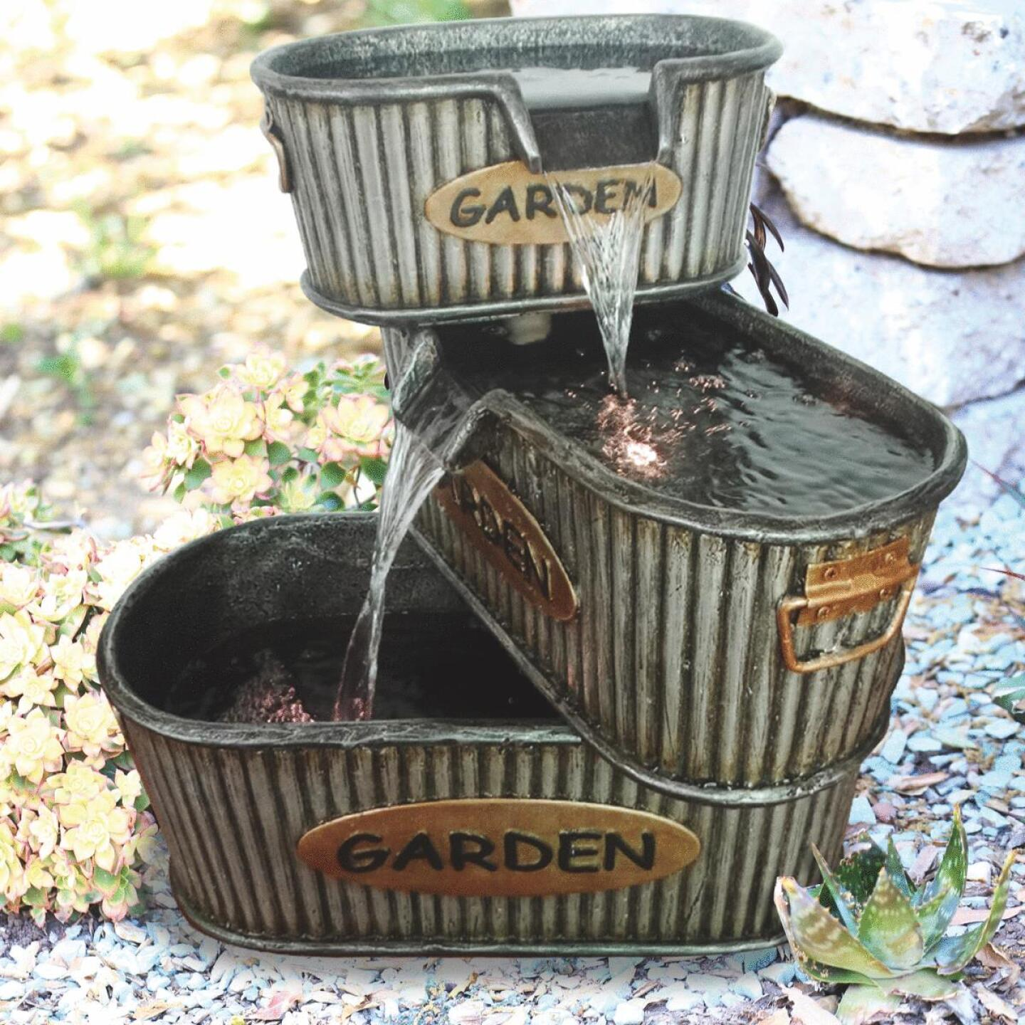 Alpine 16 In. W. x 20 In. H. x 19 In. L. Polyresin 3-Tier Garden Tin Fountain Image 2