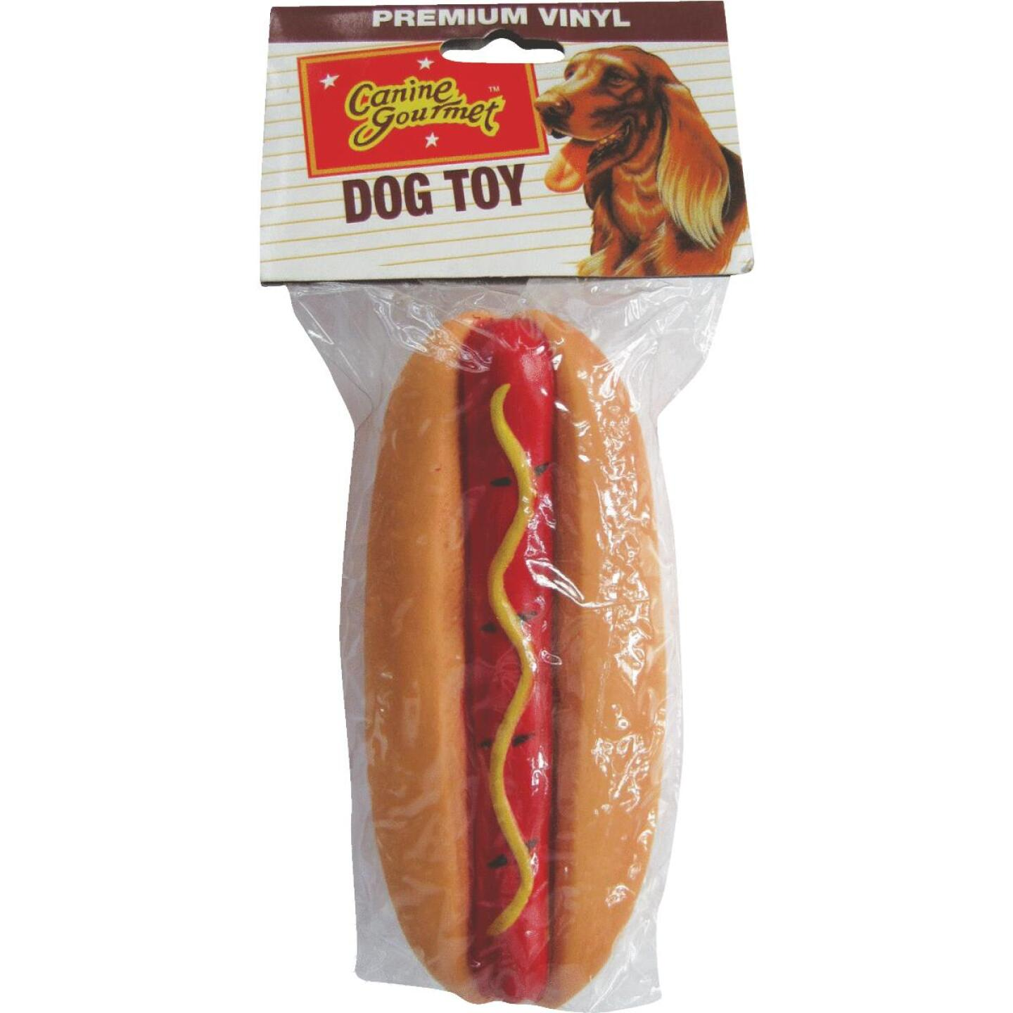 Westminster Pet Ruffin' it 1.66 In. W. x 2.0 In. H. x 5.25 In. L. Squeaky Hot Dog Vinyl Dog Toy Image 2