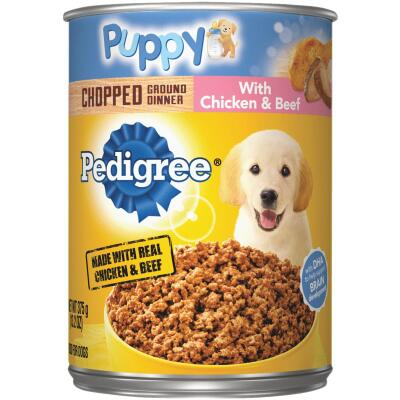 Pedigree Meaty Ground Dinner Chicken and Beef Wet Puppy Food, 13.2 Oz.