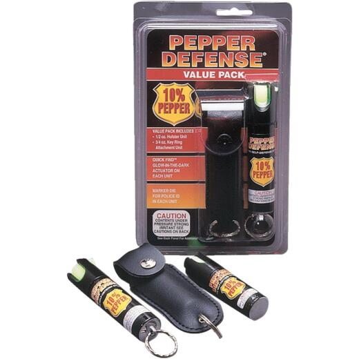 Pepper Defense 10% Pepper Value Pack Black Self-Defense Spray