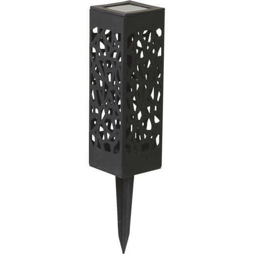 Moonrays Black 3 Lumens Plastic Filigree LED Solar Path Light