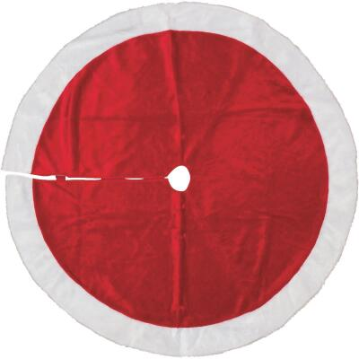 Gerson 48 In. Red Plush Fabric Christmas Tree Skirt