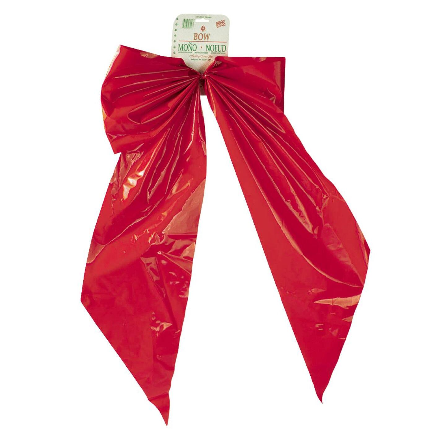 Holiday Trims 2-Loop 18 In. W. x 31 In. L. Red Plastic Outdoor Christmas Bow Image 1