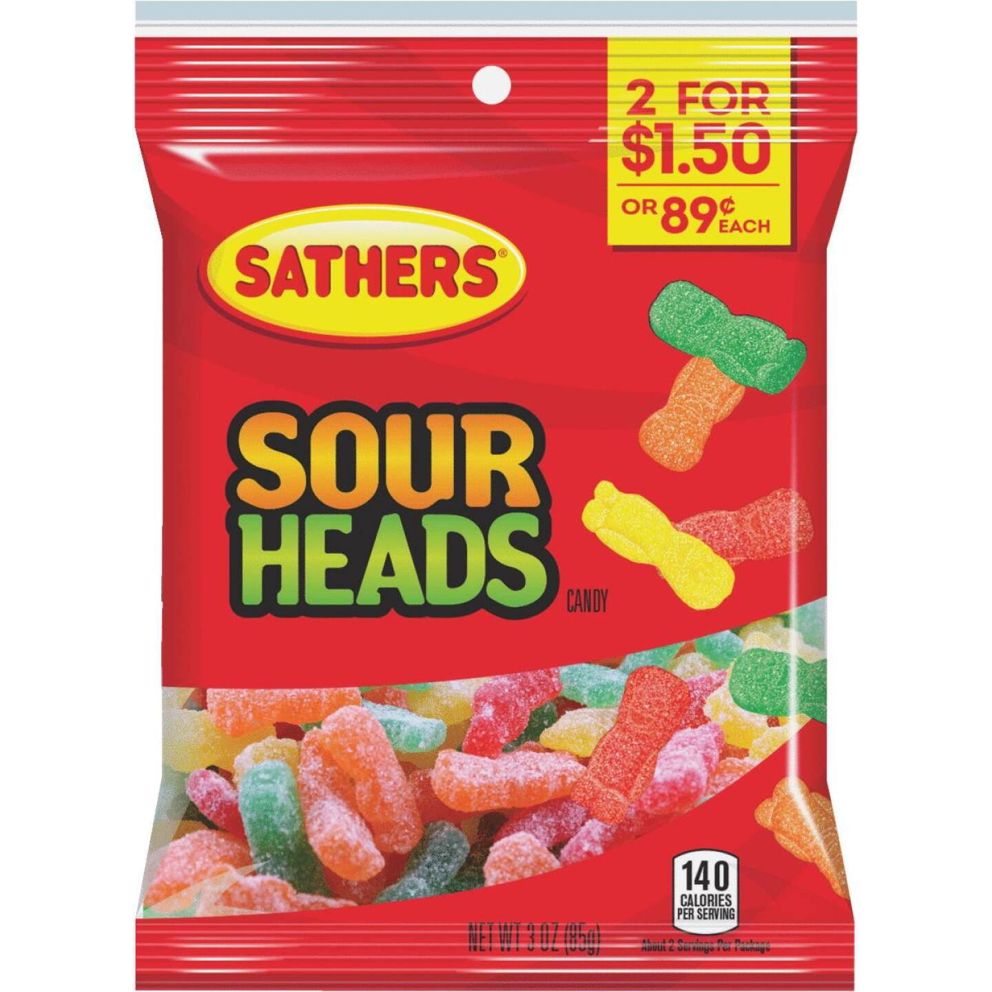 Sathers Assorted Fruit Flavors 3.0 Oz. Sour Heads Candy Image 1