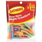 Sathers Assorted Sour Fruit Flavors 3 Oz. Neon Night Crawlers Image 1