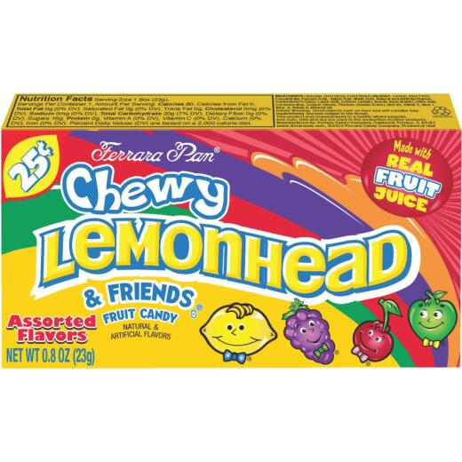 Sathers Assorted Fruit Flavors 0.8 Oz. Chewy Lemonhead & Friends