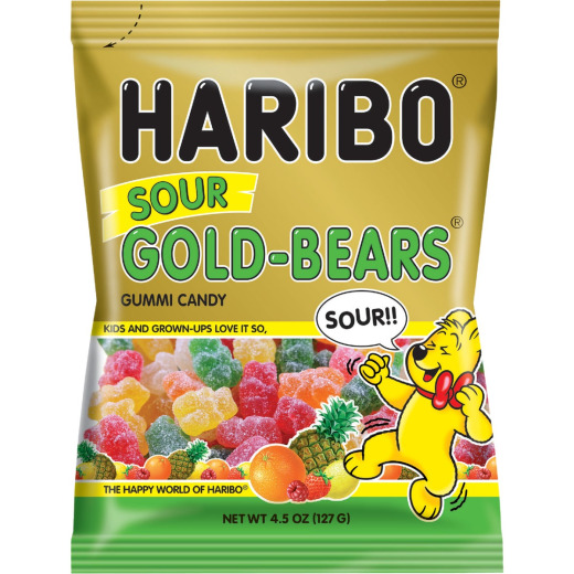 Haribo Gold-Bears Assorted Sour Fruit Flavor 4.5 Oz. Candy