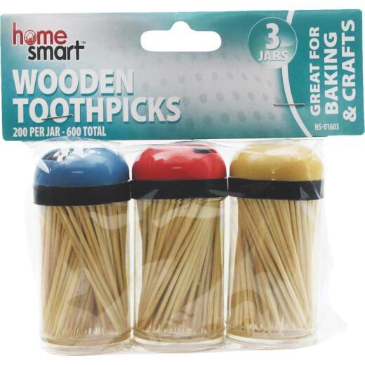 Home Smart 200 Per Jar Wooden Toothpicks (3-Pack)
