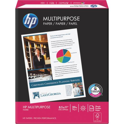 HP 8-1/2 In. x 11 In. 20 Lb. White Multipurpose Copier Paper, 500 Sheets